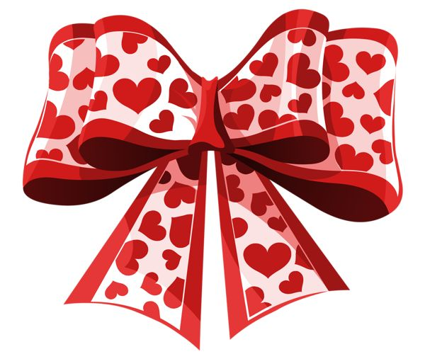Valentine Red Heart Bow PNG Clipart Picture