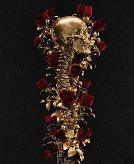 Skulls Tumblr Aesthetic: Gold Aesthetic, Flower Aesthetic, Skull Art