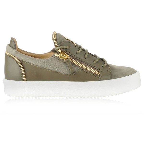 GIUSEPPE ZANOTTI Suede And Leather May Zip Trainers ($780) ❤ liked on Polyvore featuring shoes, sneakers, giuseppe zanotti, leather footwear, giuseppe zanotti sneakers, giuseppe zanotti trainers and zipper sneakers