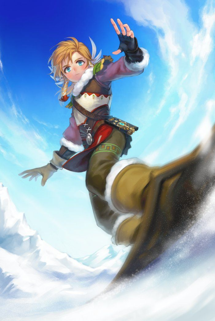 The Legend of Zelda Breath of the Wild winter snowboarding Link Art by 머레이‏ (@magore997 )