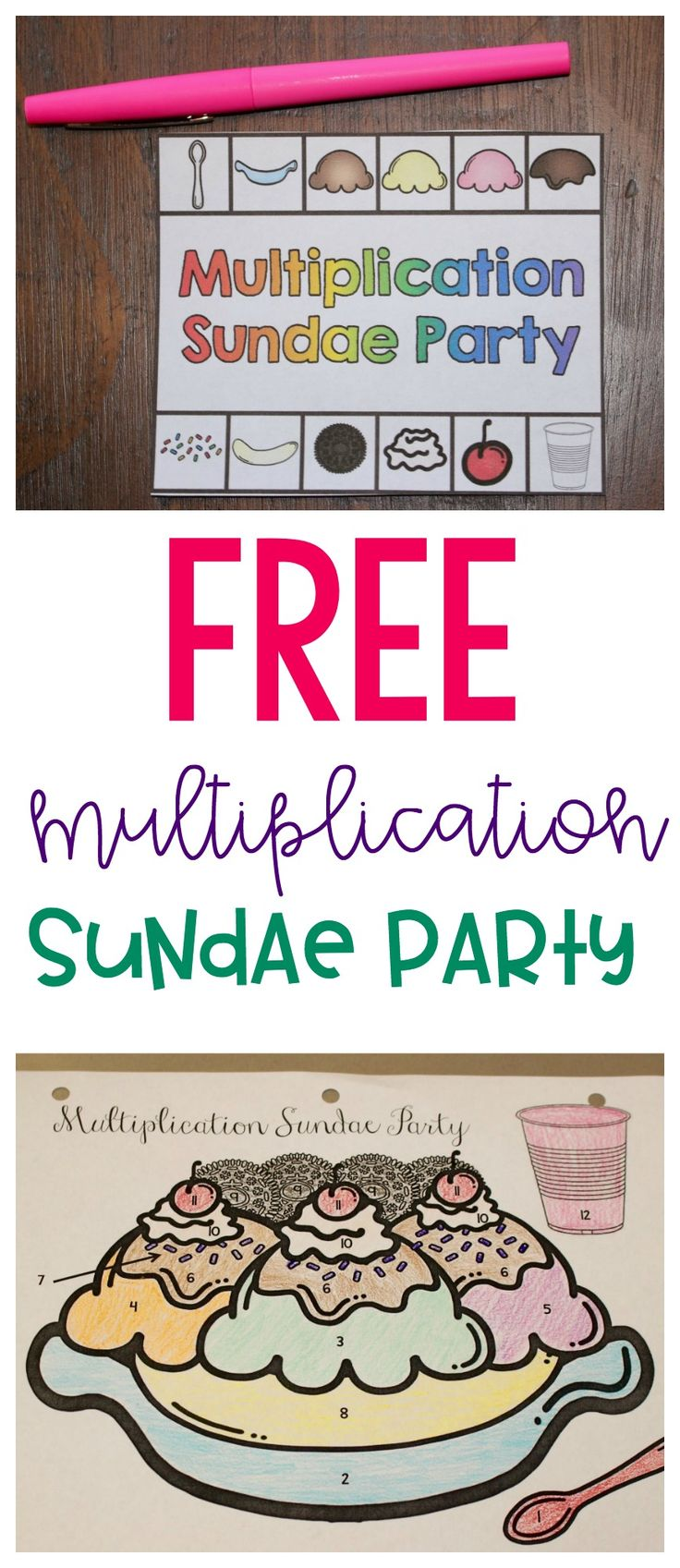 FREE multiplication sundae party printables