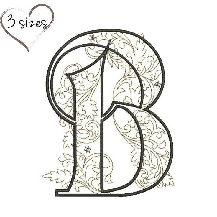 Letter B monogram embroidery machine design pes files digital instant download pattern in the hoop file t-shirt designs by SvgEmbroideryDesign on Etsy