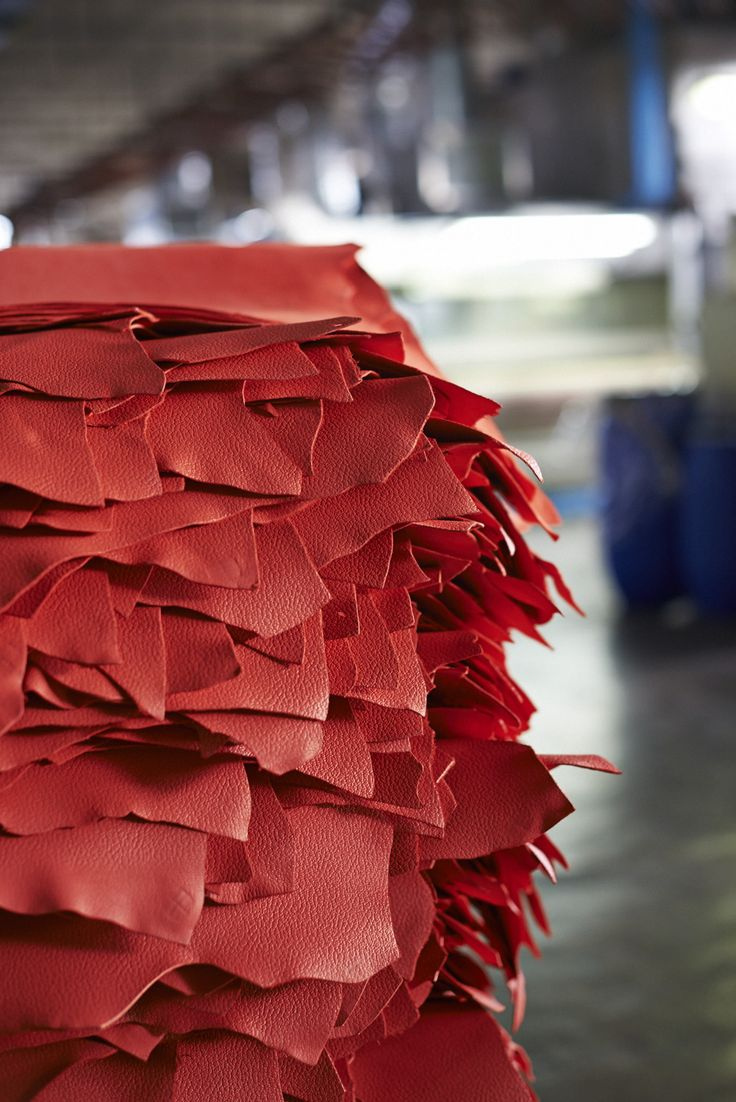 A sea of red leather at our tannery in Florence