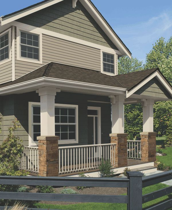 """Vinyl Siding - Market Square on Double 4"""" profile - in Greystone color from Classic Color Collection."""