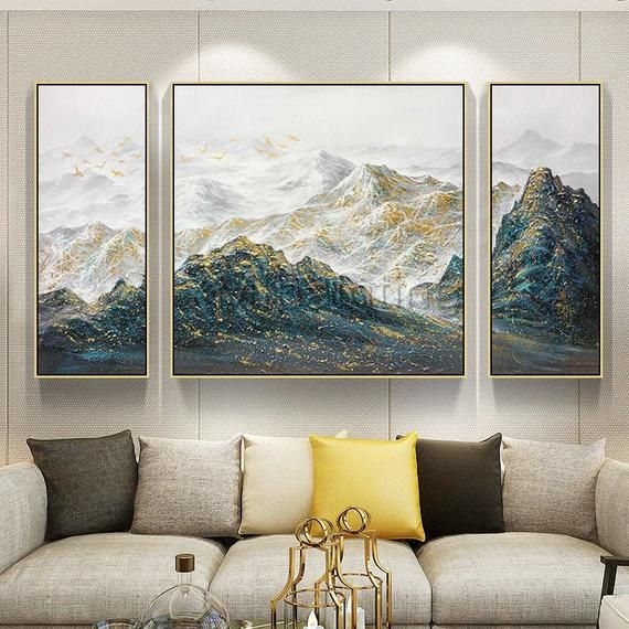 3 Pieces Wall Art Abstract Mountain Painting Peaks Gold Art Set Of 3 Wall Art Paintings On Canvas Original Wall Picture Framed Wall Art 3 Piece Wall Art 3 Piece Canvas Art Wall Art Pictures