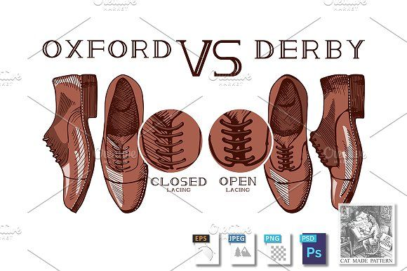 Oxford VS Derby shoes by CatMadePattern on @creativemarket