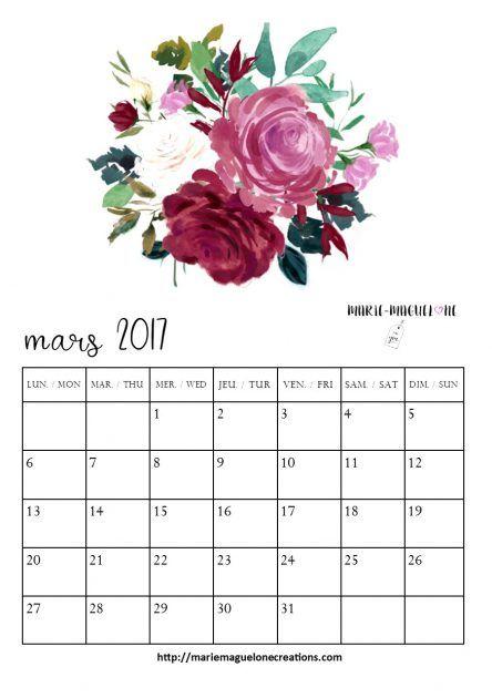 Calendrier mars 17 Pour BUJO à télécharger sur le blog