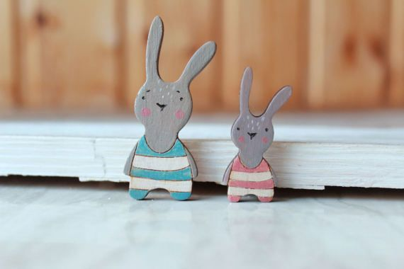 Wooden easter bunny Brooch gift for her-Wood Summer Jewelry girl woman boy man rabbit totem pin Animal brooch for kids hand painted