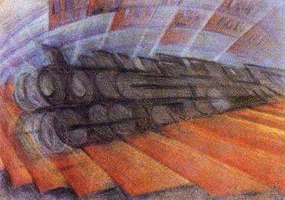 """Futurism - """"Dynamism of a Train"""" (1912), Luigi Russolo"""