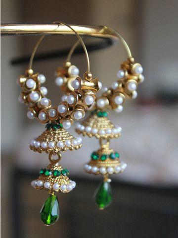 Hoop styled Jhumkas with Pearl and Green stone work | Sweta Sutariya