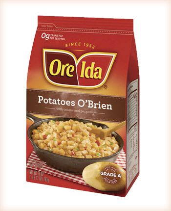 ONE-DISH BREAKFAST: 1 lg. pkg. frozen Ore-Ida Potatoes O'Brien; 2 1/2 C. milk; 1/2 tsp. salt; 1 lb. sausage, cooked & drained; 6 eggs, well beaten; 1 C. sharp cheese, shredded. Butter a 9 x 13 inch glass dish. Place potatoes and sausage in dish. Pour in eggs, milk and salt which have been combined. Top with cheese. Refrigerate overnight. Bake uncovered at 350 degrees for 45 minutes or until set.