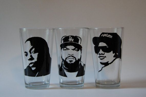 NWA members Dr. Dre Ice Cube Eazy E Beer glasses by BabyGotGlass