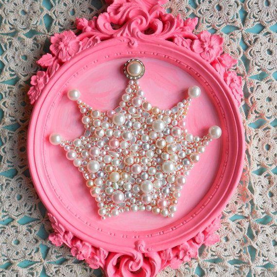 RESERVED FOR EMILY. Princess crown art. Framed art. Girls room decor. Sparkle glitter picture.Ornate hot pink.Round frame.Shabby chic.
