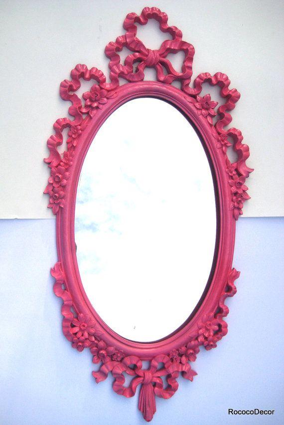 Vintage Mirror Hollywood Regency Mirror HOT PINK by RococoDecor, $145.00