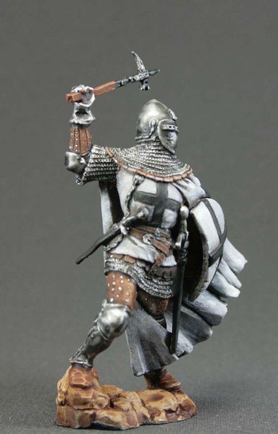 Tin Toy Soldier montado sem pintura Cavaleiro da Ordem Teutónico Resina 54mm 1//32