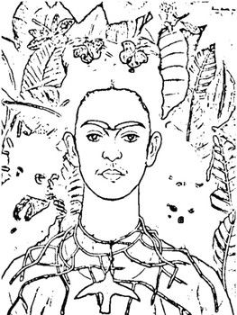 Some have asked for a Frida Kahlo coloring page so I tried my best! Use this page with some of the best Frida Kahlo Units around: Frida Kahlo Lit Unit Day of the Dead - Dia de Los Muertos Printables Mini Unit Frida Kahlo