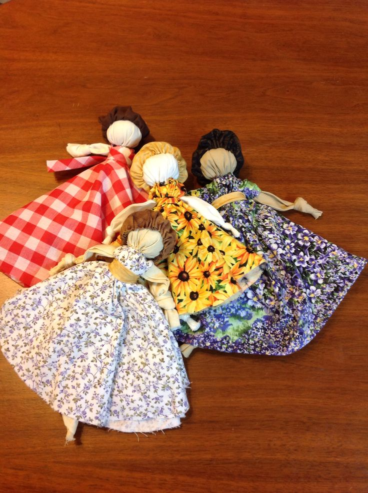 Knot dolls with a little hand sewing. Fun learn to sew project!