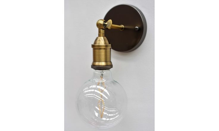 Mr Ralph | Classic Wall Light - NO SHADE- Brass and Pewter Metal - PEWTER BASE - ESSENTIALS, Wall Lights