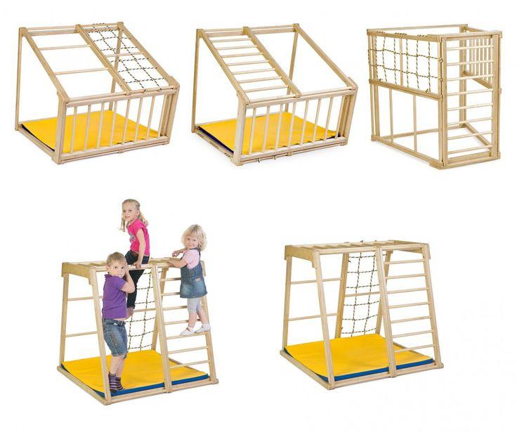Et helt genialt klatrestativ for barn mellom 0 og til skolealder. Denne modellen har 5 forskjellige posisjoner (like stabilt i alle posisjoner) og tar bare 1,5 m2 plass!