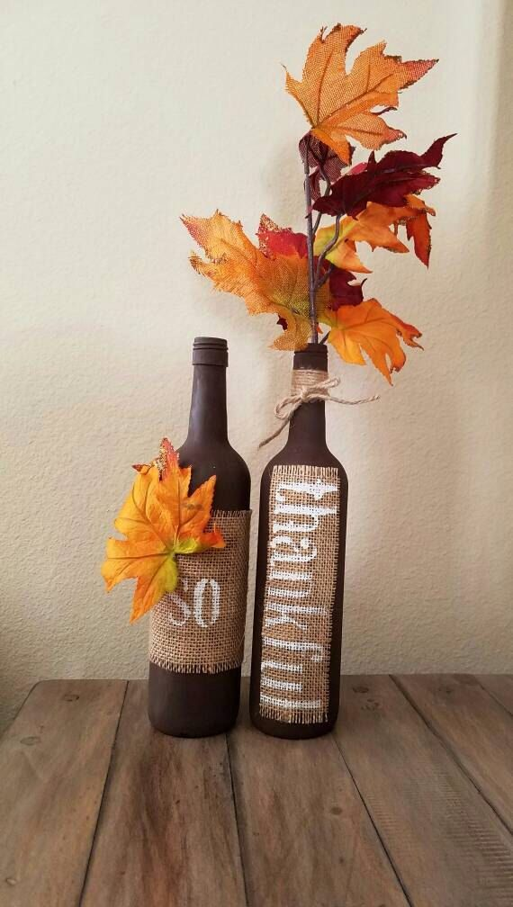 Fall decorated wine bottles. Table decor. Fall decor. by WineCraftCreations on Etsy https://www.etsy.com/listing/454256844/fall-decorated-wine-bottles-table-decor