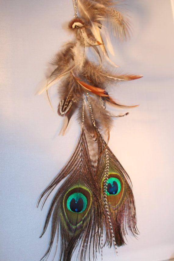 Long Feather Earrings Extention Chain Bohemian by LostCoastArts, $65.00