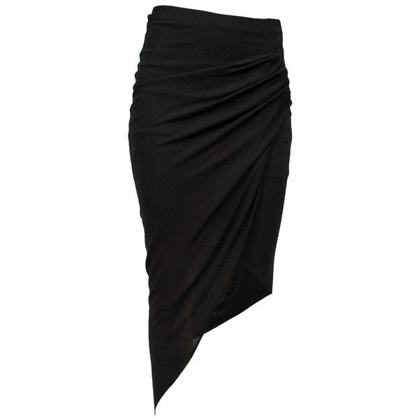 HELMUT LANG Asym Skirt Helix Black ($425) ❤ liked on Polyvore