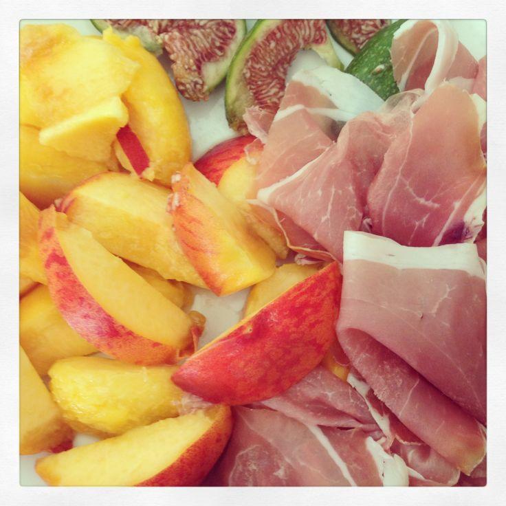 Fresh fruit and Prosciutto di Parma.