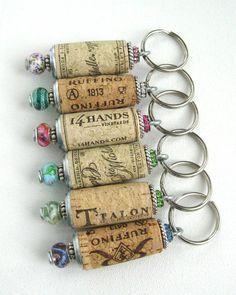 Wine cork keychain Upcycled recycled wine cork by lizkingdesigns