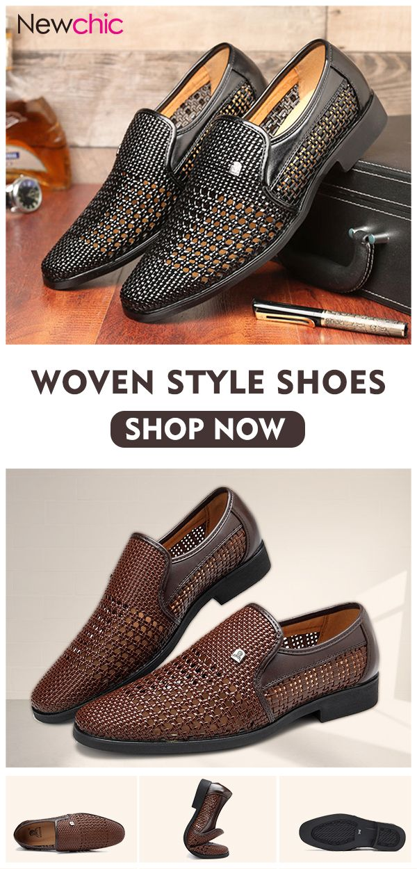 167fae9e08 Men Woven Style Leather Hollow Out Breathable Casual Shoes #style ...