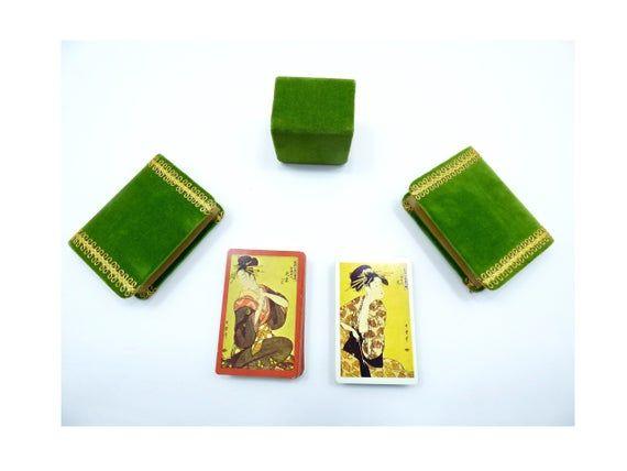 Oriental playing cards – asian geisha woman lady decks holder