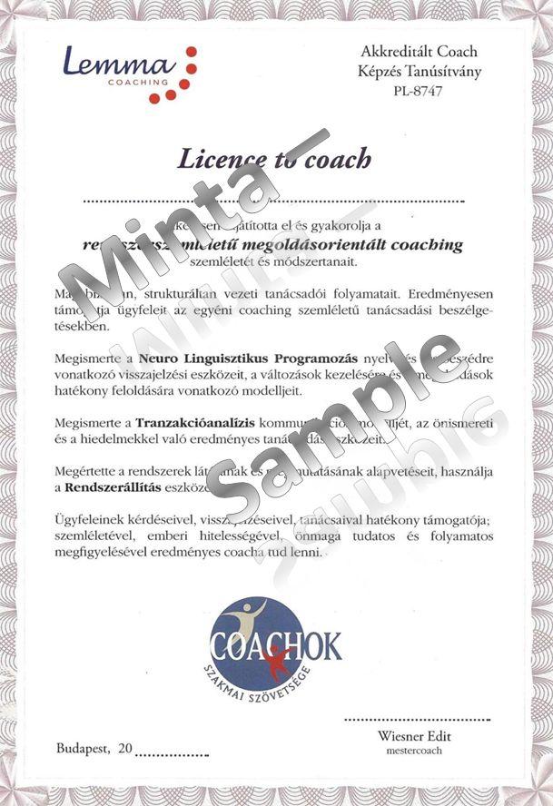 Lemma Coaching tanúsítvány - ilyet fogsz kapni tőlünk, ha végzett coach leszel! Jelentkezz most! www.lemma-coaching.hu/coach-kepzes lap alja