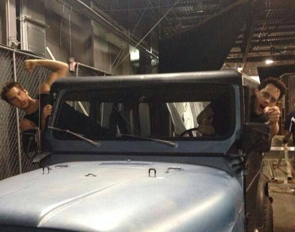 Cruisin' in the Jeep! Dylan Sprayberry and Orny Adams on the set of Teen Wolf Season 4!