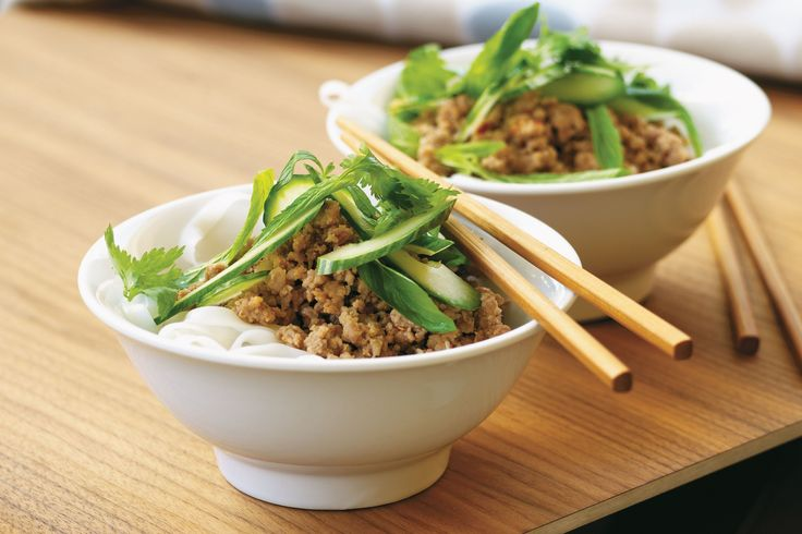 For a fresh and simple noodle dish, try this tasty Thai pork larb recipe.