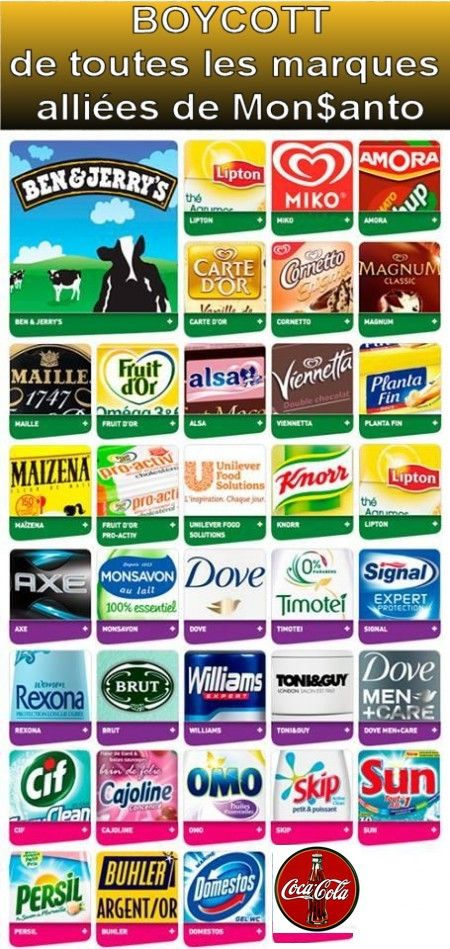 Boycott MONSANTO-Roundup : enfin la liste des marques complices assassines !!!