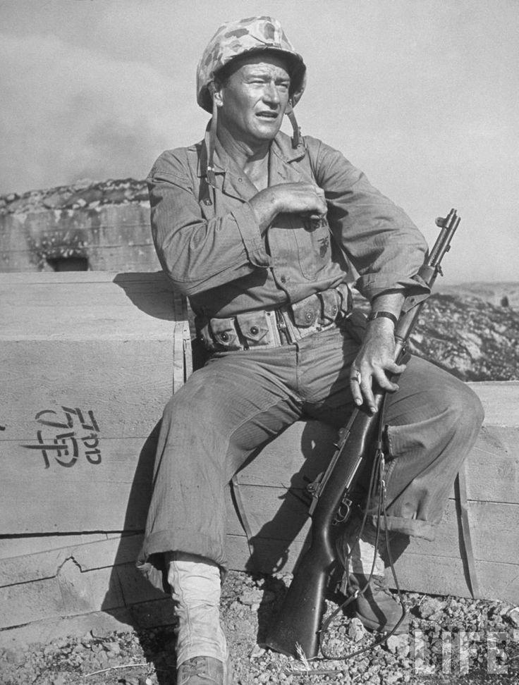 "Actor John Wayne as Marine Sgt. Platoon Leader in Scene From the Movie ""Sands of…"