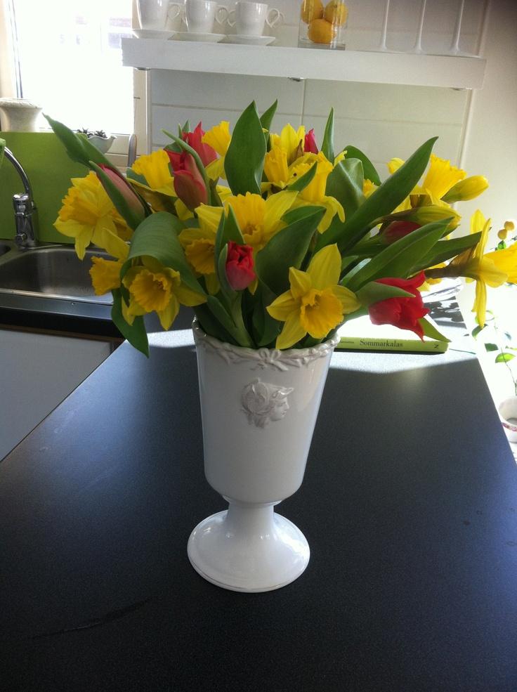 Tulpaner och påskliljor.