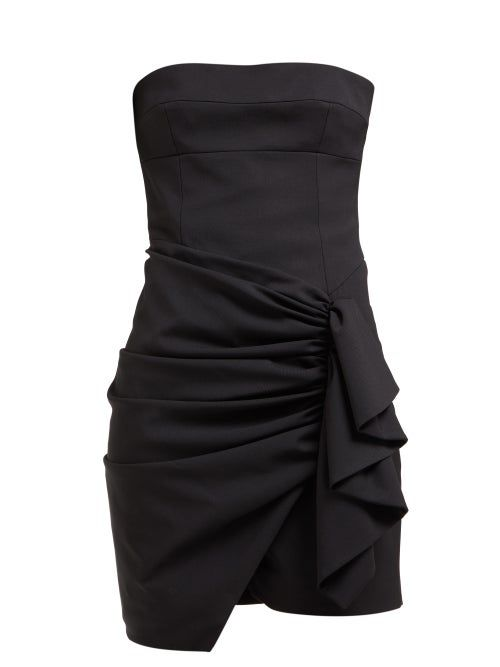 alexandre vauthier ruched strapless wool blend mini dress in