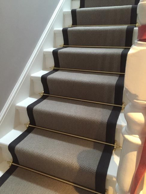 Grey Carpet with Black Border and Golden Stair Rods to Stairs More