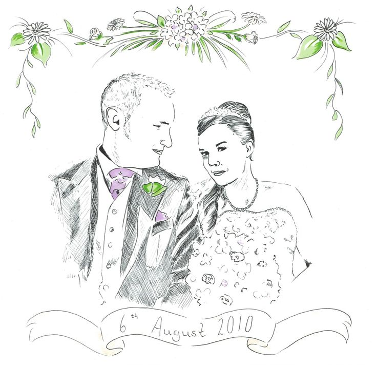 Wedding portrait pen and ink drawing