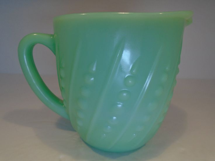 """Thanks for the kind words! ★★★★★ """"Beautiful piece of depression glass. Seller packed item secure and shipped fast """" Debra W. http://etsy.me/2jbyjYB #etsy #housewares #kitchen #green #birthday #christmas #anchorhocking #jadeitepitcher #jaditepitcher #milkpitcher"""