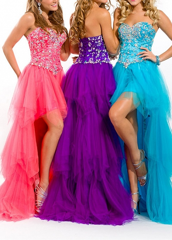 Buy discount Stunning Stretch Satin  A-line Strapless Sweetheart High Low Prom Dress With Beadings at Dressilyme.com