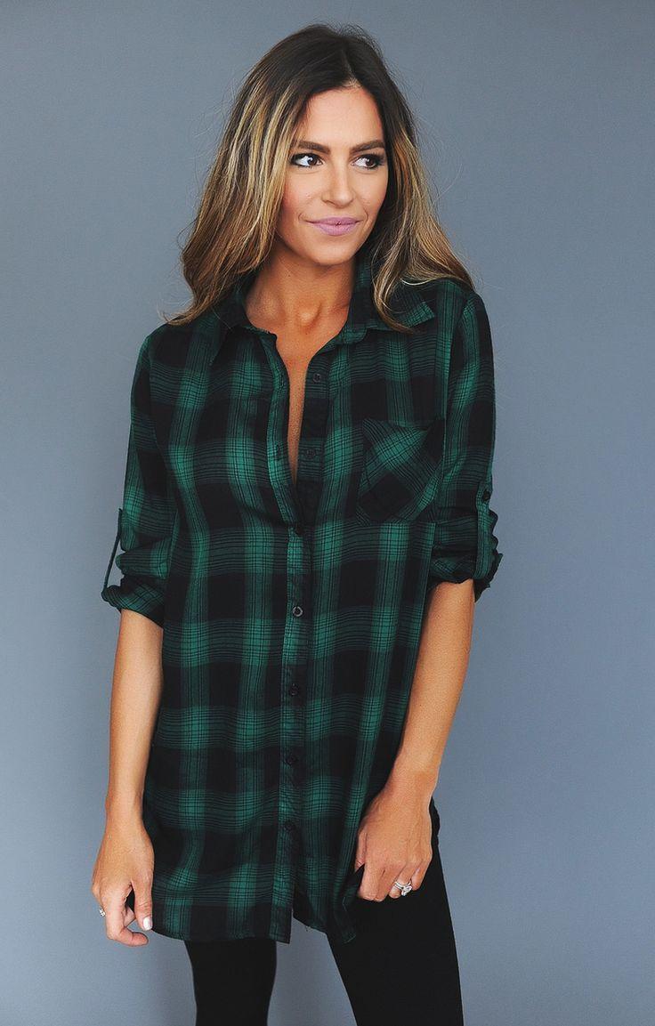 Green/Black Plaid Tunic - Dottie Couture Boutique