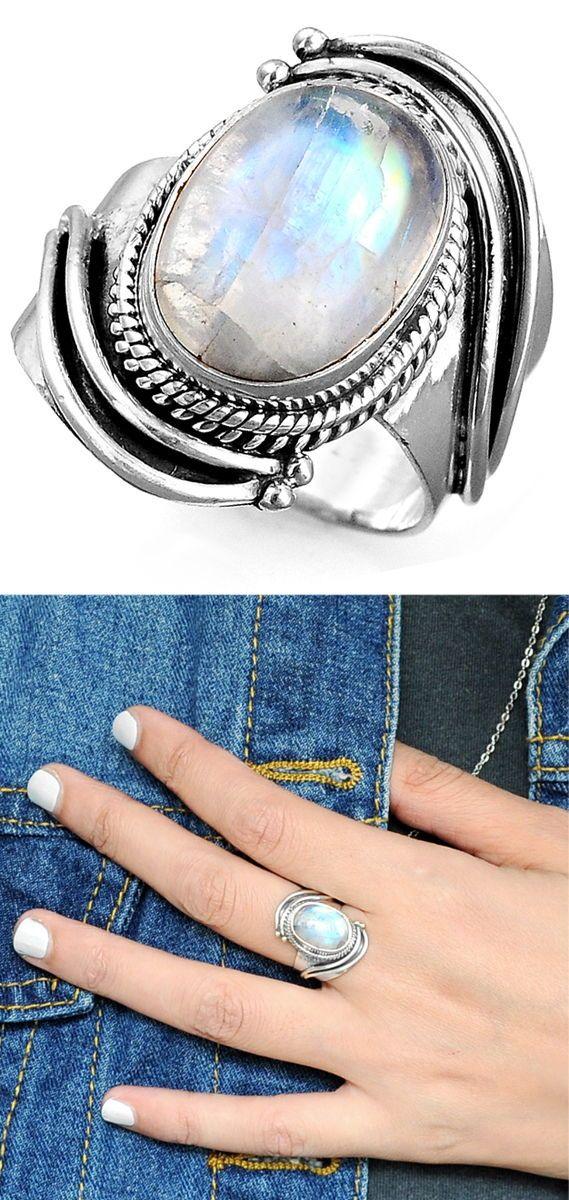 Silver Ring Wedding Engagement Mother Ring Boho Bohemian Ring Rainbow Moonstone Ring Handmade Gemstone Ring Jewelry Fine Jewelry
