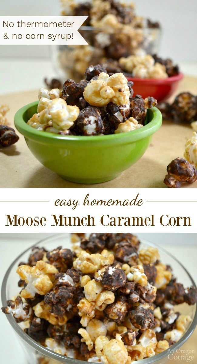 Homemade 'Moose Munch' caramel corn is dangerously good and oh so easy. Make plain caramel corn or coat some with chocolate for Moose Munch.