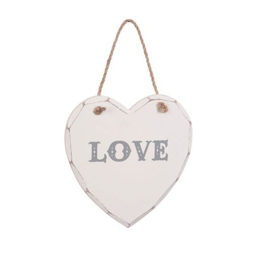 Decorative 'shabby chic' wooden 'Love' Heart Plaque.
