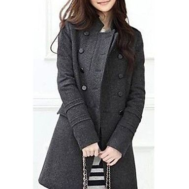 Women's Stand Collar Double-breasted Trench Coat - USD $ 24.49