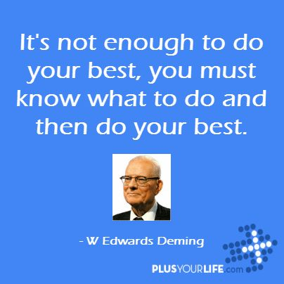 It's not enough to do your best, you must know what to do and then do your best. – W Edwards Deming