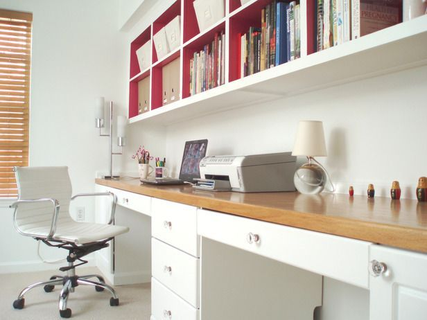 Walled Study  If you have an empty wall, you have the perfect spot for a small-space home office. A wooden desktop atop white cabinets provides ample workspace. Extra-long wall shelves are accentuated by painting their interior red, adding a pop of color to the mostly white space. Design by RMS user just-beachy.