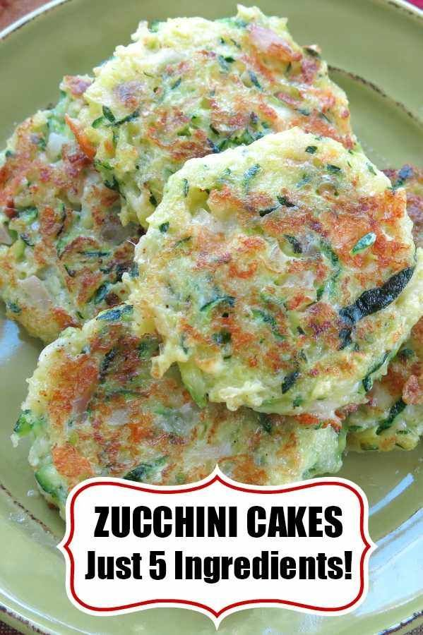 Easy Zucchini Cakes recipe with just 5 ingredients including tangy feta cheese and red onion. Low calorie, healthy and delicious! #zucchini #healthyappetizers