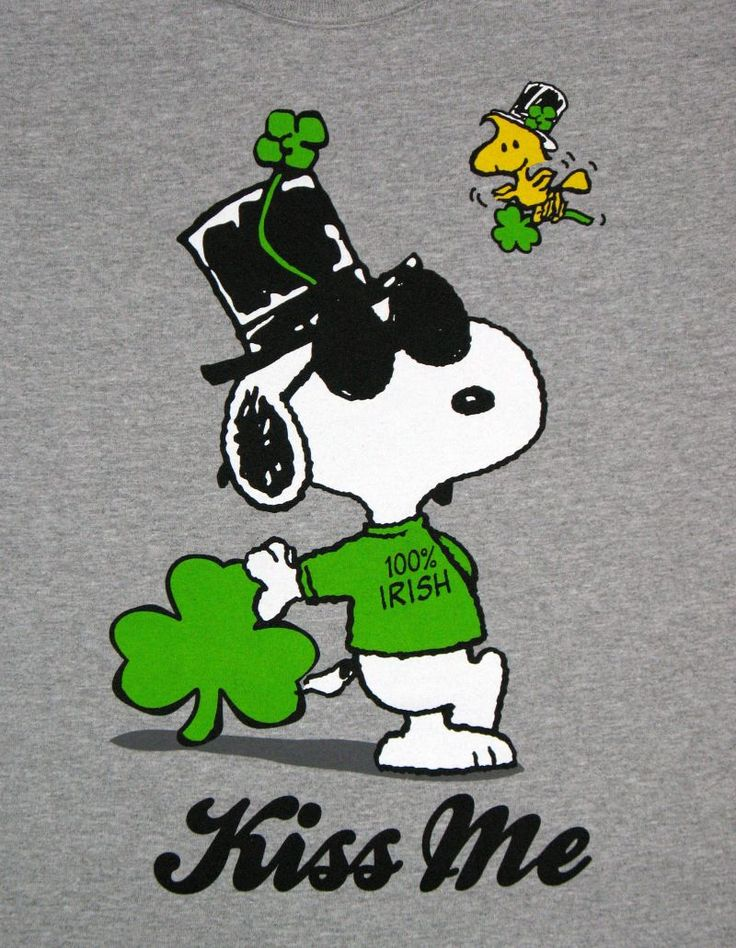 Peanuts+Valentine+Clip+Art | Joe Cool St. Patrick's Day Shirt - Kiss Me!: Snoopn4pnuts.com